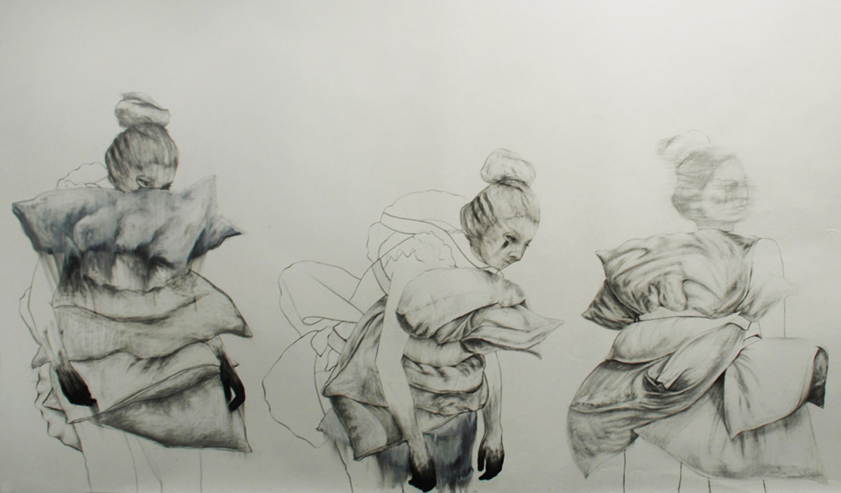 """Hunting for meaning (detail) / 60"""" x 168"""" / Charcoal, pencil & oil pastel on paper"""