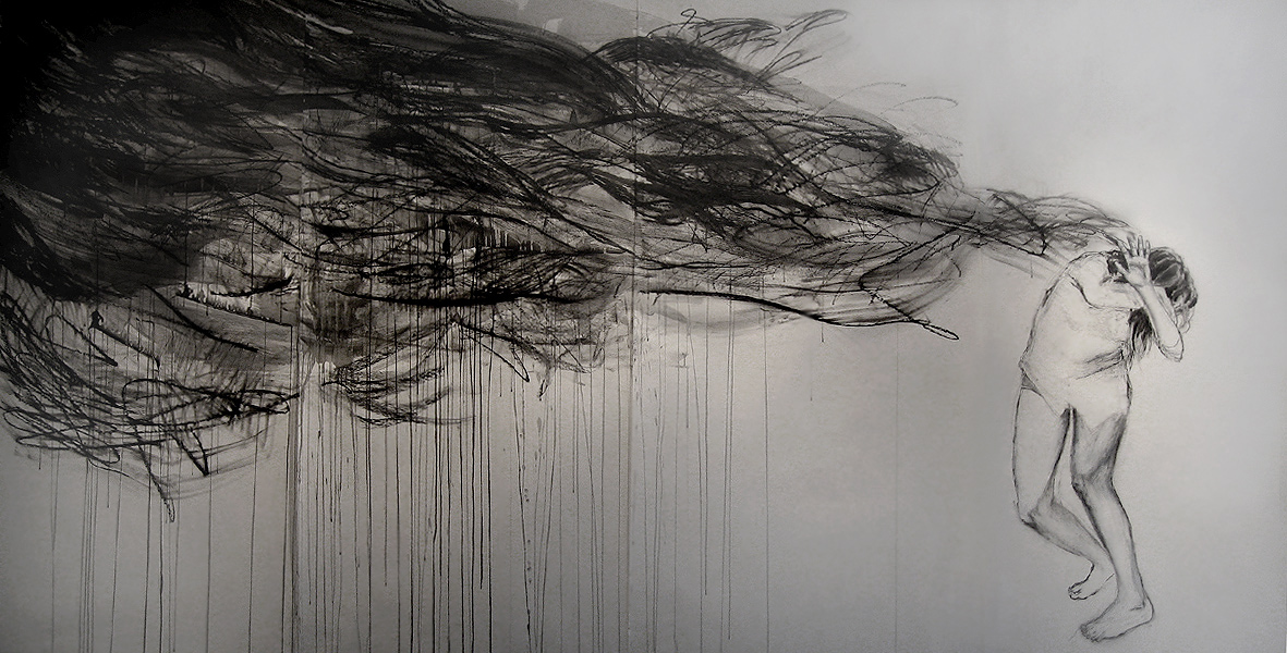 """I had a dream you were still alive / 84"""" x 200"""" / Oil pastel, ink & charcoal on paper"""