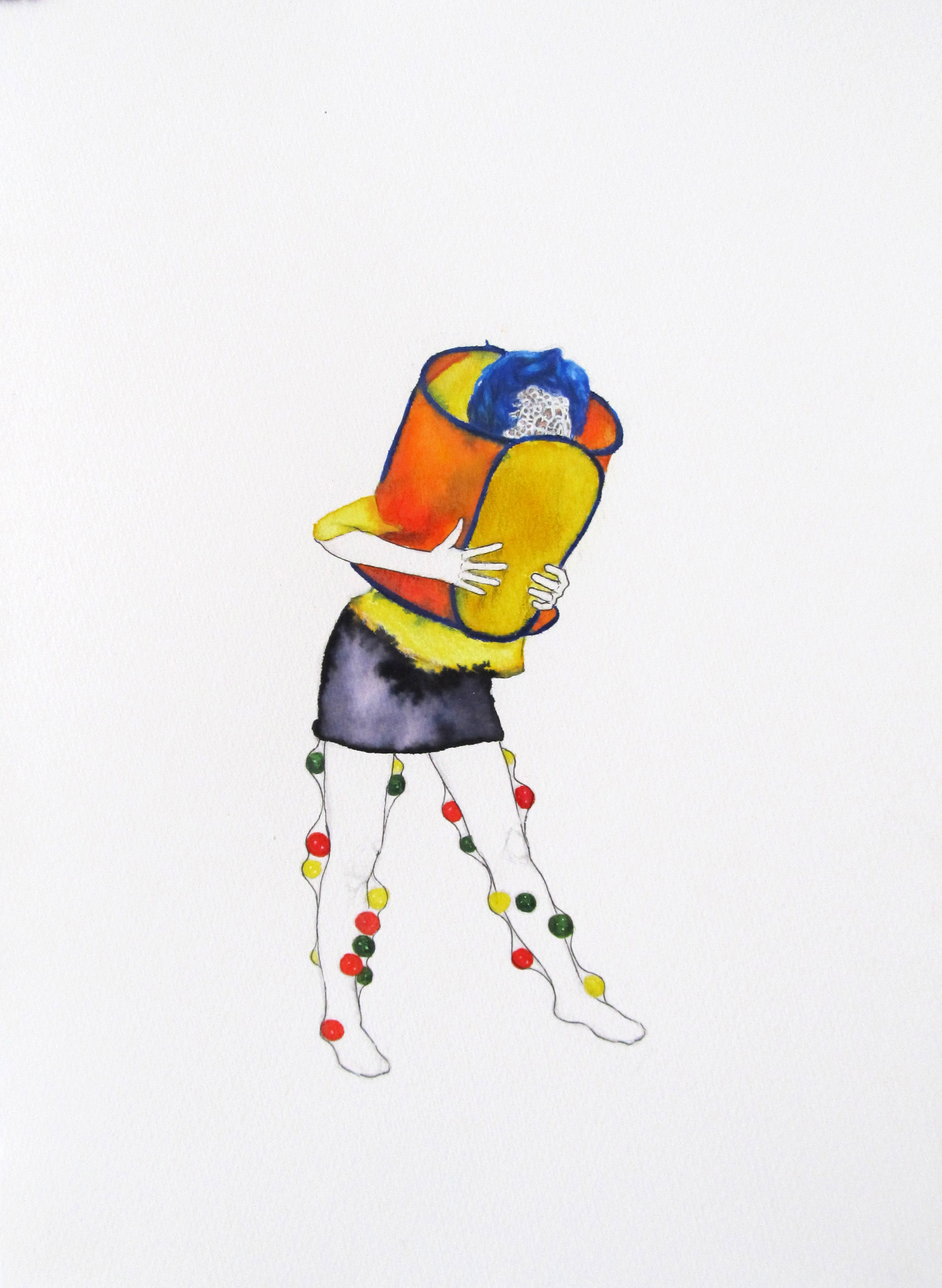 The Introverted Extrovert (you know her type) / 24 x 34 cm / Colored pencil & ink on paper