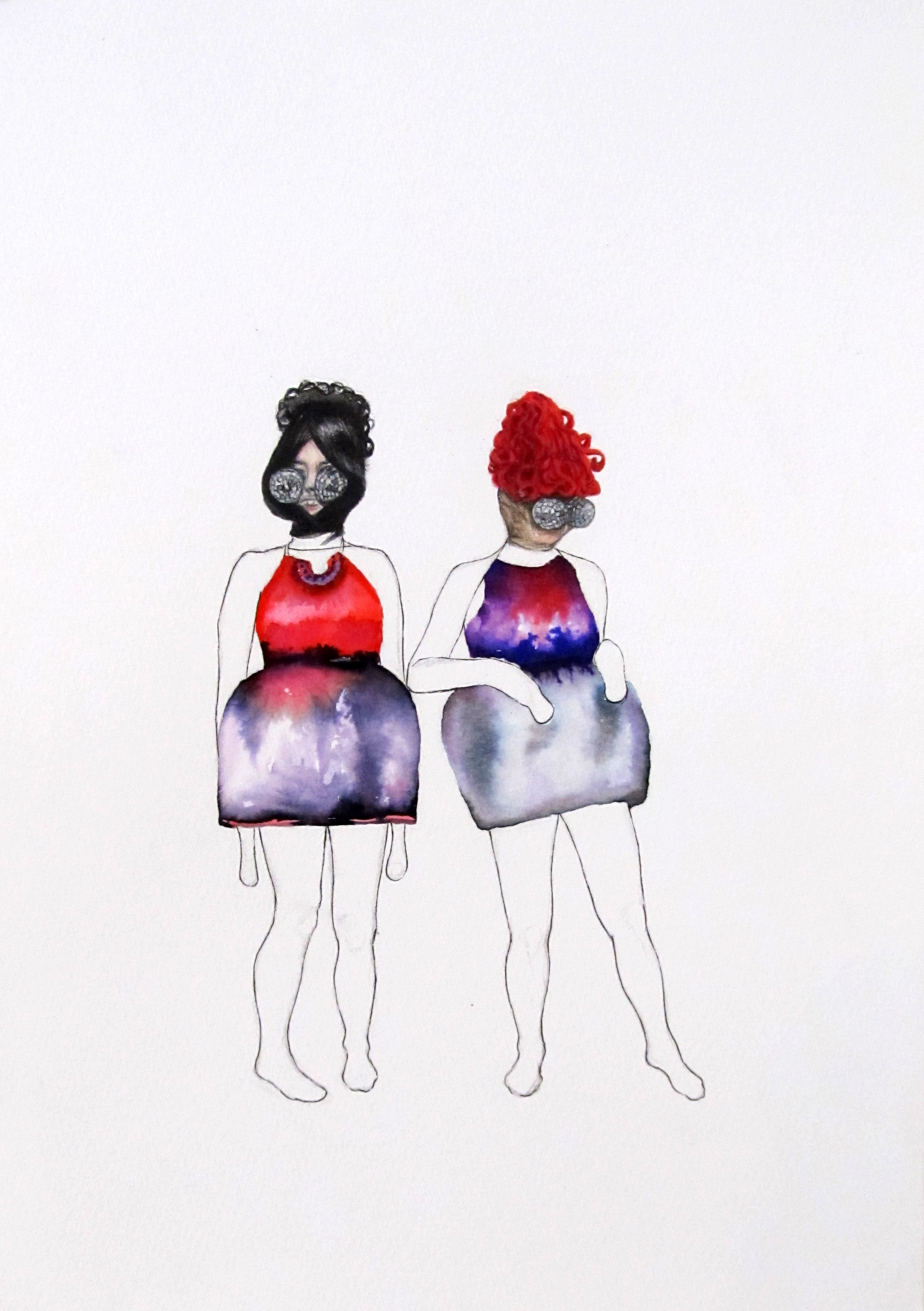 The Frivolous Sisters (they gossip too much) / 24 x 34 cm / Colored pencil & ink on paper SOLD