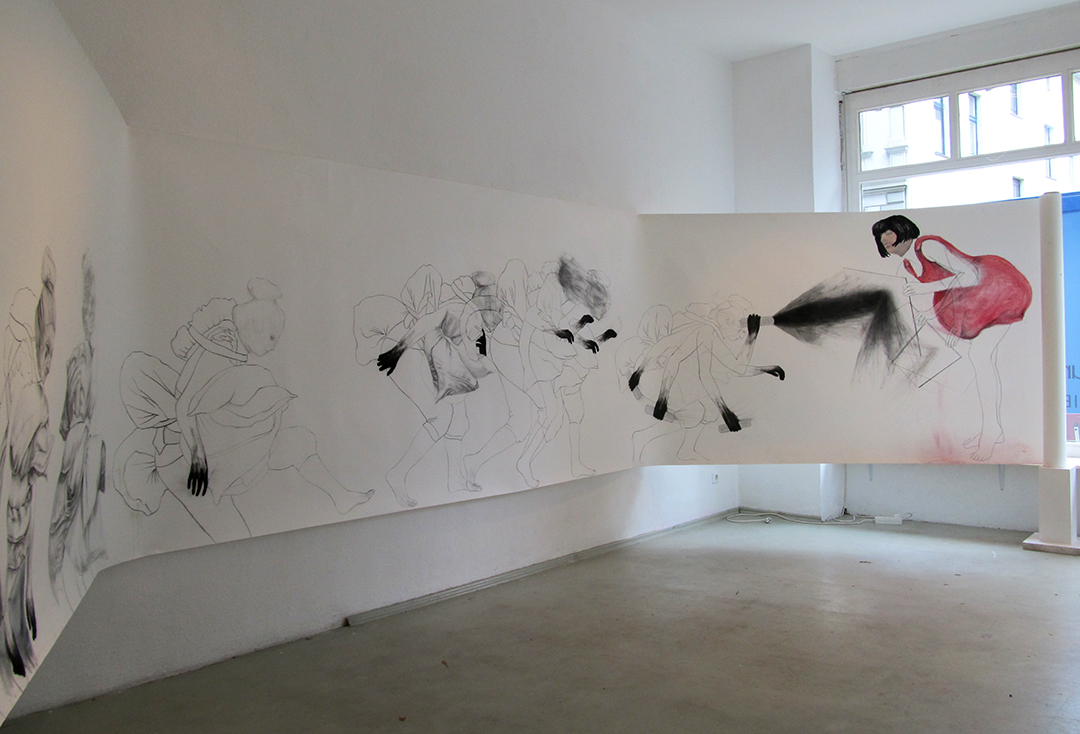 "Hunting for meaning continues within The Hunt / 60"" x 168"" / Charcoal, pencil & oil pastel on paper"