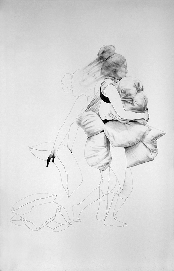 """Letting go / 90"""" x 60"""" /Pencil and charcoal on paper"""