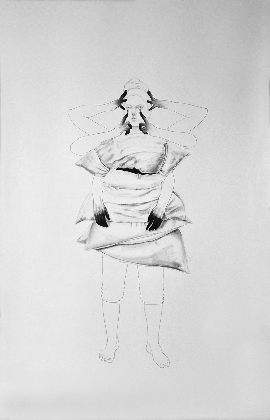 """Daily Ritual / 90"""" x 60"""" /Pencil and charcoal on paper"""