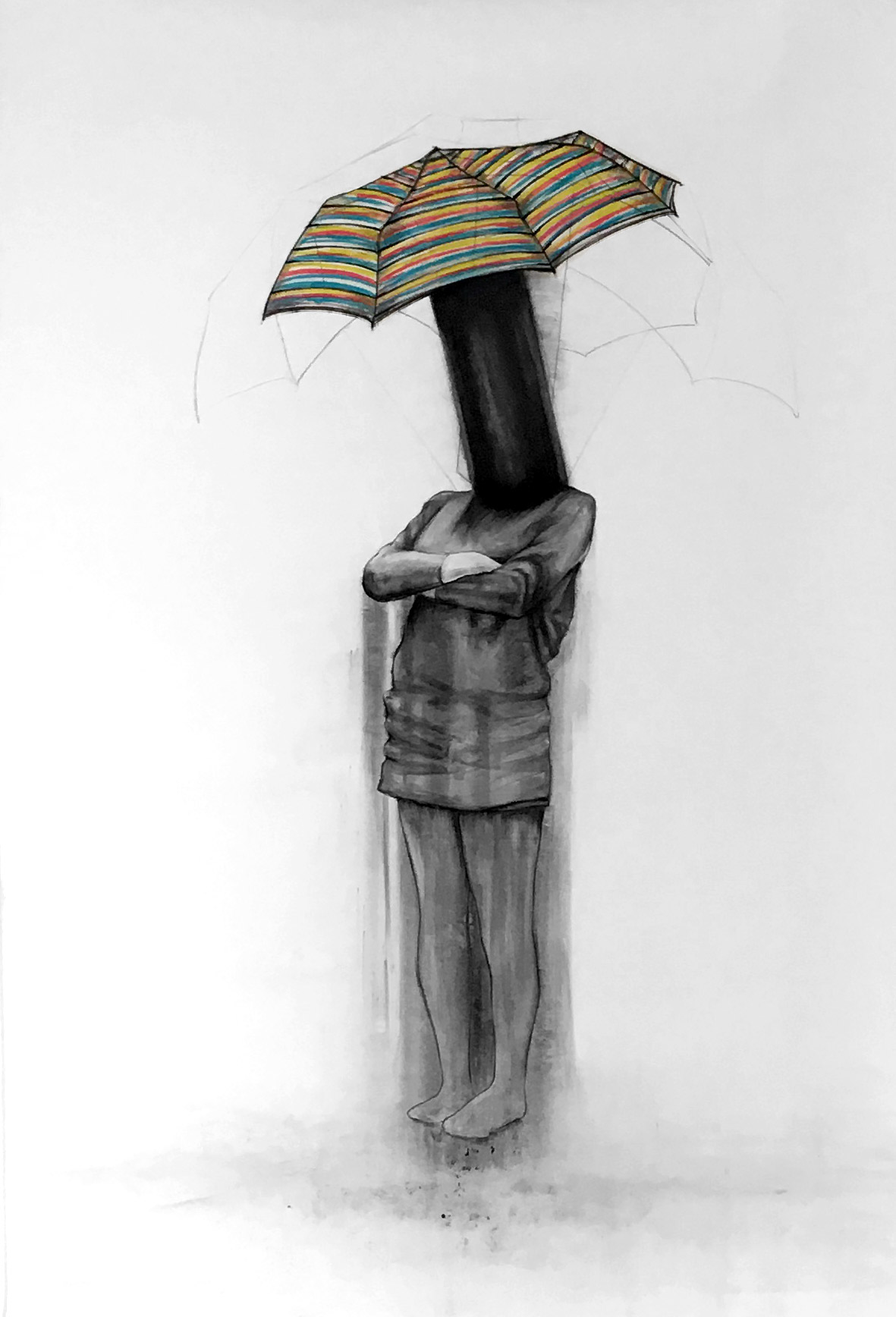 "The official Umbrella-head portrait / 90"" x 60"" / Pencil and charcoal on paper"