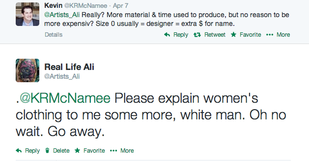Because if you wear a size 0, you must only wear designer clothing.