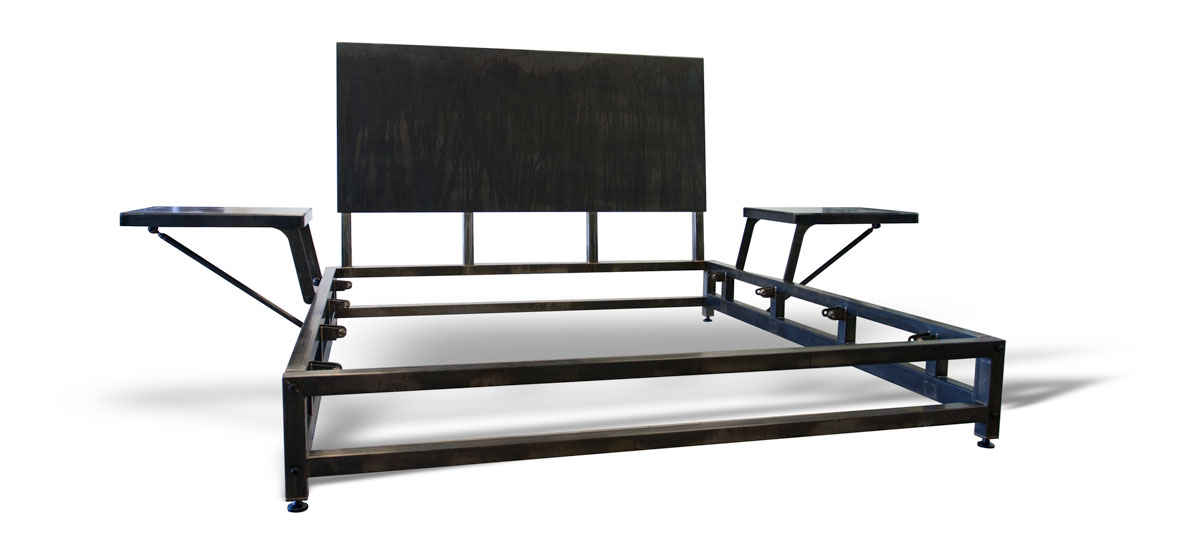 King Lowboy bed frame shown in black oxide finish with wax sealer