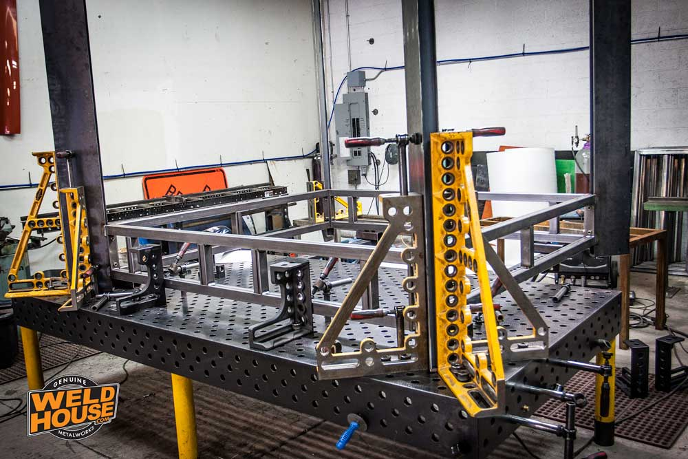 Our Bluco / Demmeler welding table measures approximately 5' x 10' feet and is expandable to 10' x 17' feet for large commercial projects