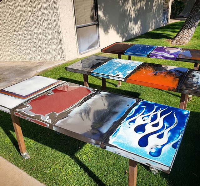 3 freshly clear coated table tops heading to Temecula, Ca.