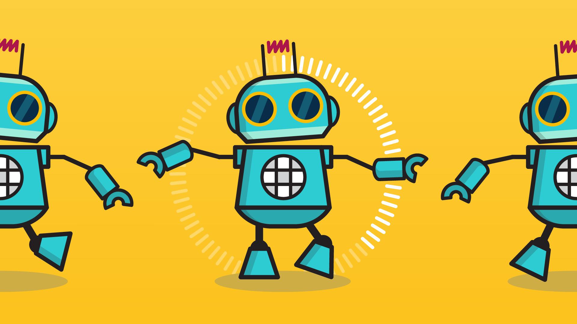 SurveyMonkey Dancing Robot Illustration