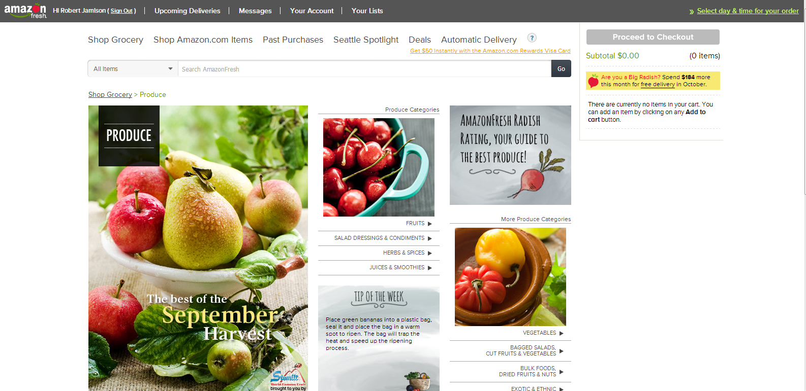 "The one-off ""Produce"" category landing page"