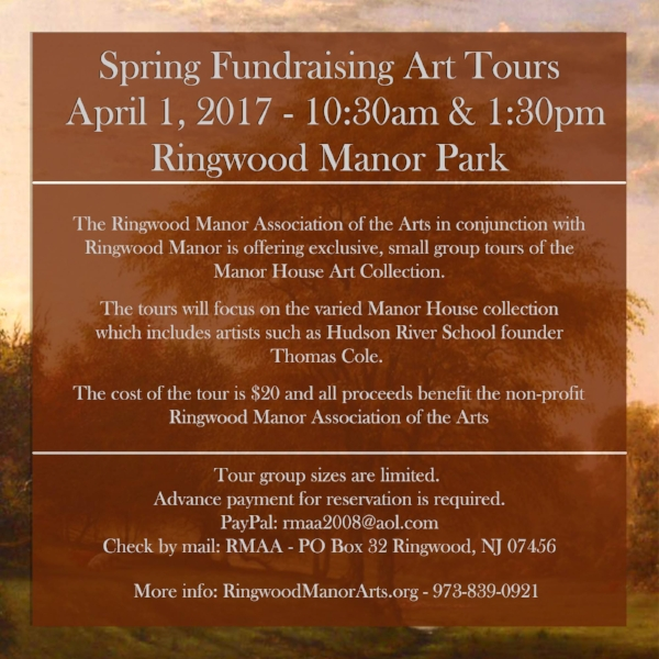 April 1, 2017 - Art Tours of Ringwood Manor House to support RMAA