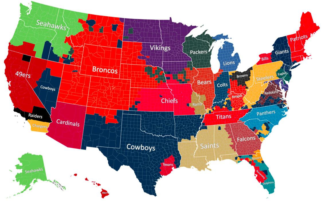 Favorite NFL teams by the number of Facebook likes via Facebook