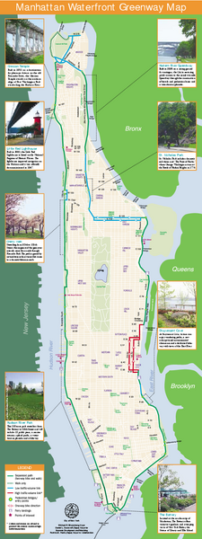 Mapa do parque Waterfront ao redor de Manhattan