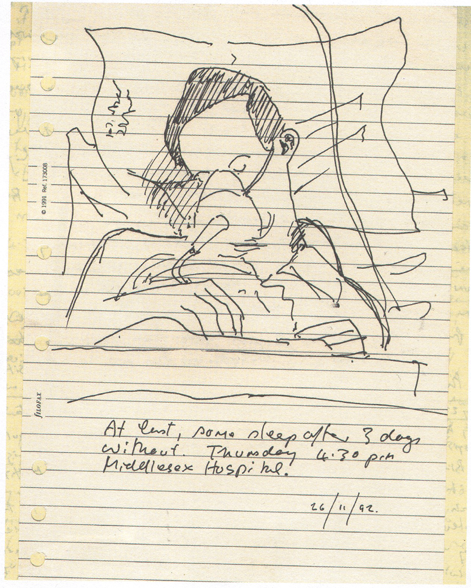 Pen sketch of a friend, Steven, dying from Aids at the Middlesex Hospital, London (1992)