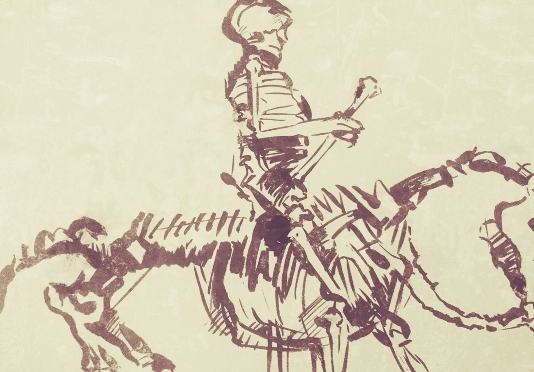 "Copy of ""The Skeleton Rider"" by Rembrandt Harmensz. van Rijn. ca. 1655. Pen in brown ink"