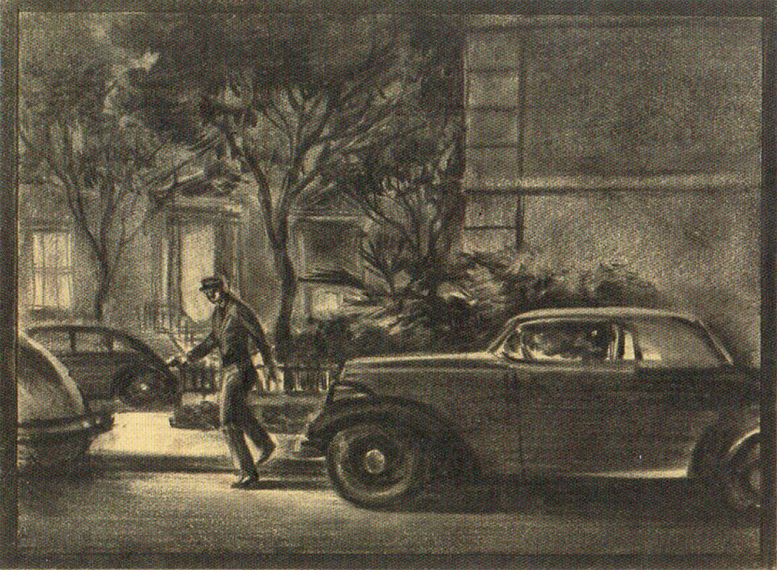 This page from Bill Herwig's boards, drawn in pencil, depicts Carol Lundgren— the chauffeur of Arthur Gwynn Geiger, the rare book dealer who is blackmailing Philip Marlowe's client, General Sternwood— preparing to shoot the gambler Joe Brody outside Brody's apartment.