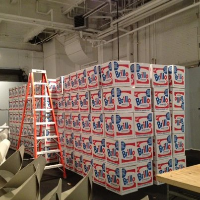 """A few hundred Brillo boxes """"backstage"""", waiting to be installed at The Armory Show"""