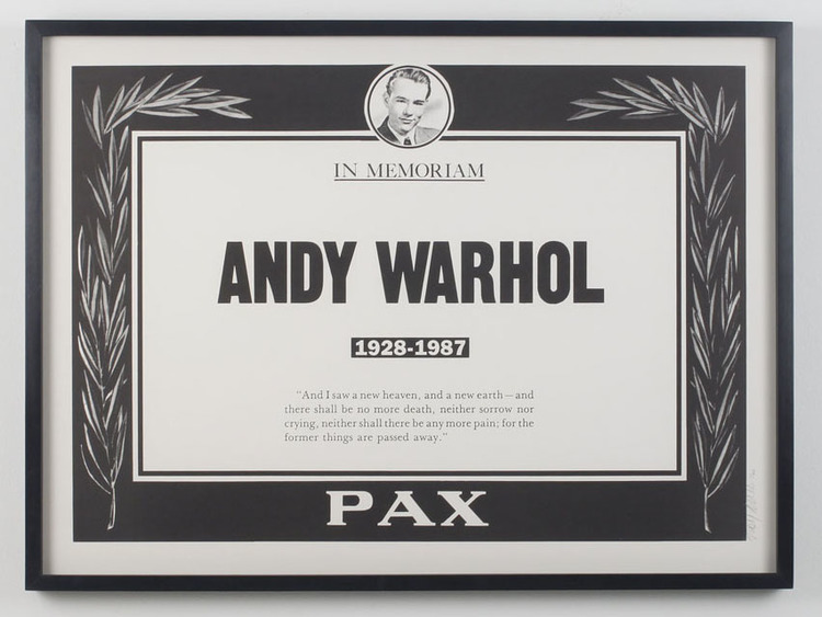 Trey Speegle, Andy Warhol, Memorial poster, signed edition of 50