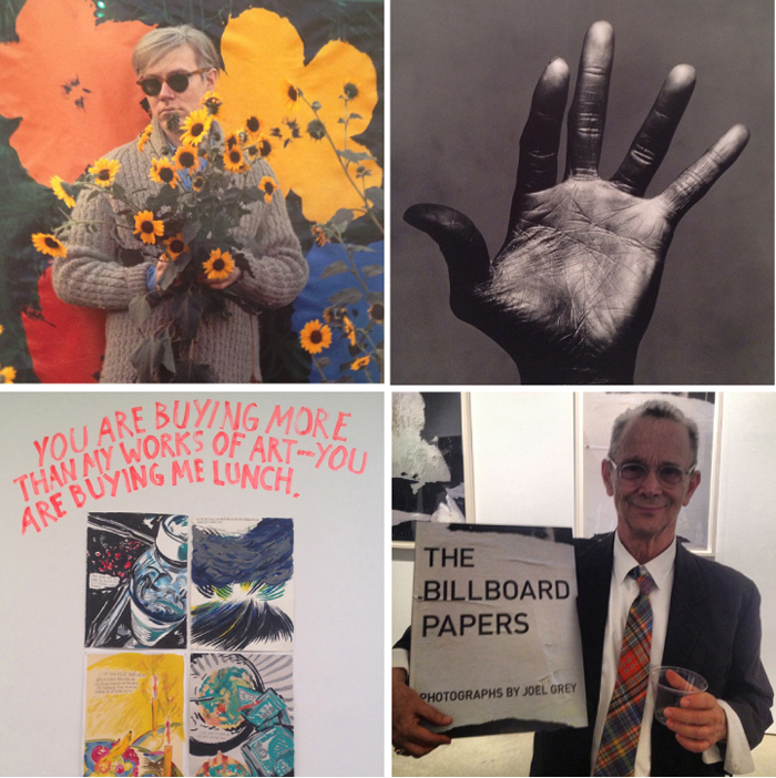 Top left: Andy Warhol by William John Kennedy at  Steven Kasher Gallery ; Miles Davis's hand by Irving Penn at  Pace Gallery ; Richard Pettibone at David Zwirner Gallery; my neighbor Joel Grey at Steven Kasher Gallery.