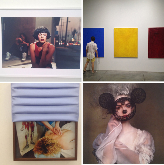 "Bottom left: Philip Lorca diCorcia's ""Hustler"" series at  David Zwirner Gallery ; Josh Smith's 20 solid  color paintings at L uhring Augustine : Elad Lassry photos at 3 03 Gallery : Irving Penn's On Assignment at Pace Gallery."