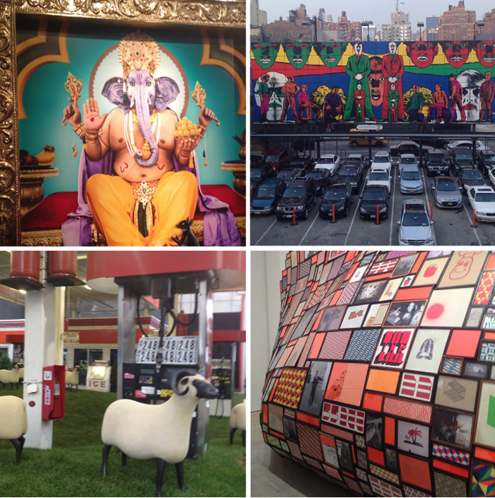"Bottom left: Manjari Sharma's ""Ganesh"" at  ClampArt ; Gilbert and George on the  Highline Billboard ; Lalanne sheep installed at the Getty station on 24th & 10th Avenue, the future site of real estate mogul Michael Schvo's home; Barry McGee at  Cheim and Read"