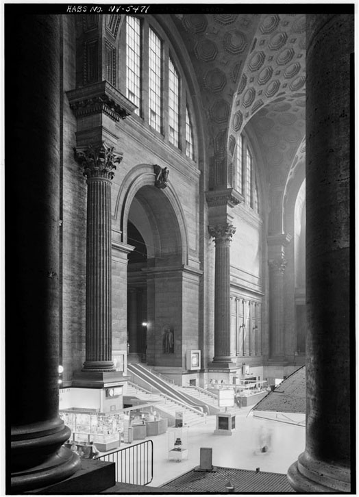 The interior of Penn Station's concourse with a 150-foot vaulted ceiling.