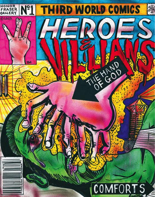 Mario Ybarra, Jr,  Heroes & Villians,  2013, Ink on paper 17 x 14 inches