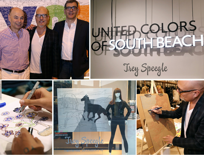Top, left to right, with Benetton's CEO Ari Hoffman and Communication's VP Carlos Tunioli in front of my #withyou made for the event, drawing live, my work in the window. Bottom center; Converge gallery's Casey Cleghorn with his drawing outside, trays I made for the event and my little   RePop Shop   set-up)