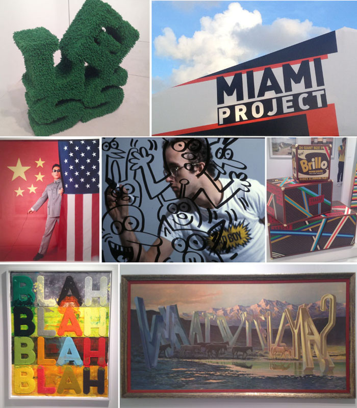 """Photos: Miami Project, Tsend Kwong Chi's self portrait, Kwong Chi's Keth Haring Bad Boy, Lutz's Brillo stack, Mel Bochner, Wayne White, wordy neon, Dan Tague's """"Living the Dream"""" photo, & Herr Nilsson's Pooh bear)"""