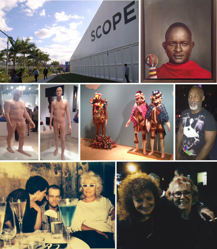 "Scope tent, from Brian Drury's ""Supernaural"" at Dean Project, Scope tent, two views of Richard DuPont's distorted man, Saya Woolfalk's ""No Place"", Nick Cave poolside at the South Seas, Nan Goldin's 'Bea with Blue Drink' circa '84, Nan & Bea after the premiere of ""I Remember Your Face"""