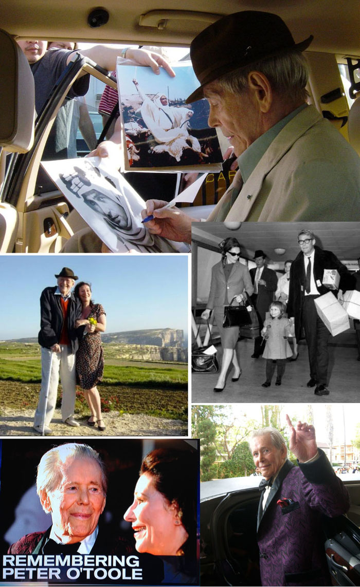 (Photos: top, by Kate O'Toole; Kate & Peter in Gozo by Lucy Villiers; vintage photo of Sian Phillips, little Kate & Peter O'Toole circa '64; Peter and Kate on NBC News; Peter leaving The Four Seasons to go to the Oscars in 2007. He started to get into the car, turned and gave me this shot. Bye, Pedro.)