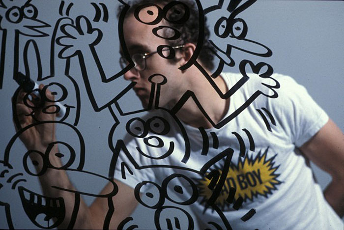 Tseng Kwong Chi photo of Keith Haring, Bad Boy, Bordeaux France, 1985