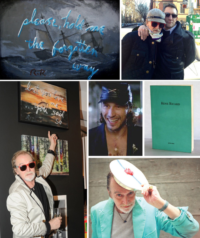Top, One of Rene's word paintings; with Joe Dolce in New York, February 14, 2013; Renee with his work; Michael Wincott as Rene in  Basquiat  ; Rene's first book of poetry which was designed to mimic Tiffany packaging – I have my copy.