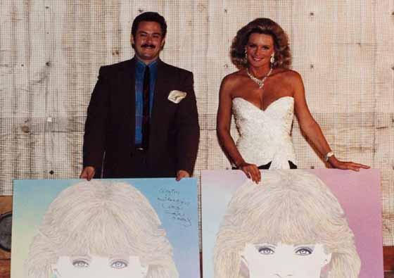 The artist with Linda Evans, circa '83