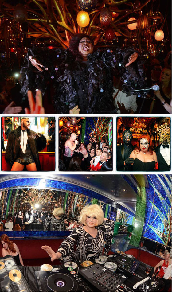 Latrice Motherf*cking Royale; Francois Sagat; Andy Bell of Erasure in concert; masked guests; The Lady Bunny spinning