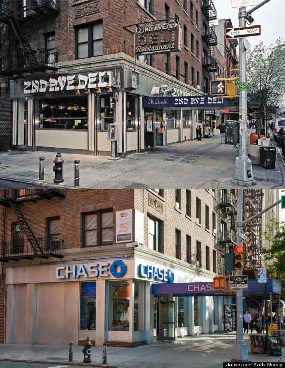 2nd Ave Deli, opened in 1954 in the East Village, replaced by Chase Bank