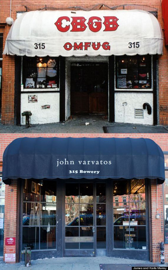 CBGB, an iconic music club on Bowery closed in 2006, replace by John Varvatos, that is music themed and has a lot of the original elements.