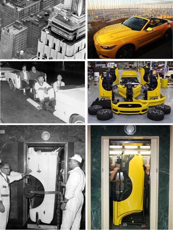 Mustang going up to the top of The Empire State Building, 1964 & 2014