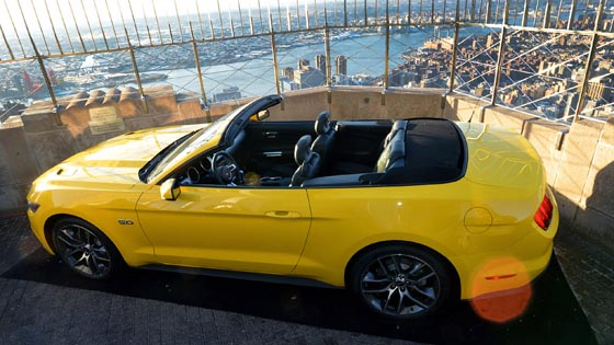 2015 Mustang GT convertible with a view of Manhattan