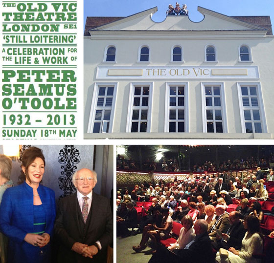 The cover of the memorial program; the Old Vic in London; Kate O'Toole and the President of Ireland, Michael D. Higgins; the audience at the Old Vic, May, 18, 2014