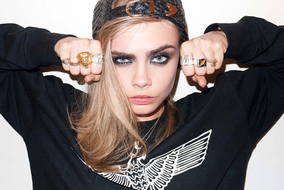 "Cara Delevinge wearing Slim's silver ""Holy Cow Butt"" rings"
