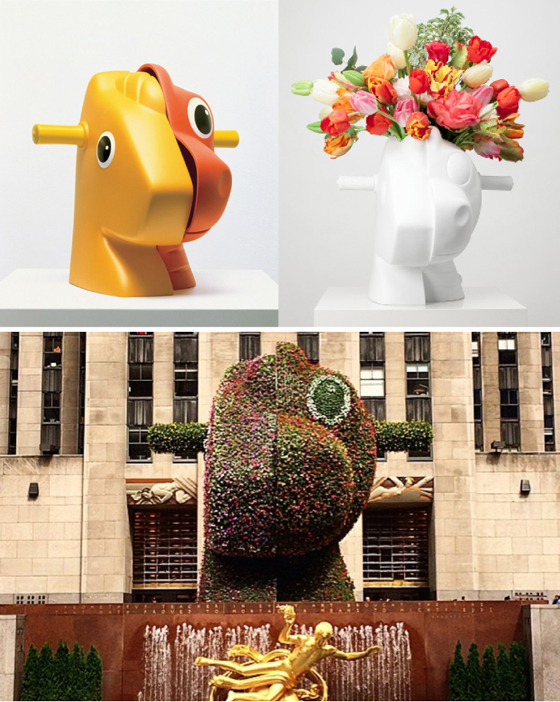 """The original 12"""" tall Split Rocker; the $5000 limited edition vase; the newly installed 3D blooming version in Rockefeller Center"""