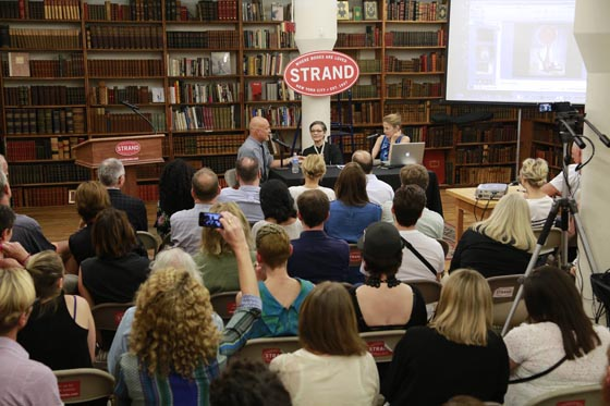 L to R; Trey Speegle, Joan Juliet Buck and Lucy Sisman speaking at the Strand bookstore in NYC, July 17, 2014