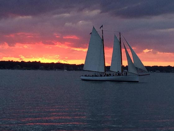 Newport gets some crazy beautiful sunsets and some salty dogs got entertained for free when they sailed by Fort Adams