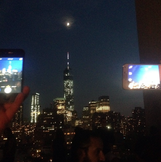 The new Freedom Tower with a perfectly positioned moon @hankwillisthomas