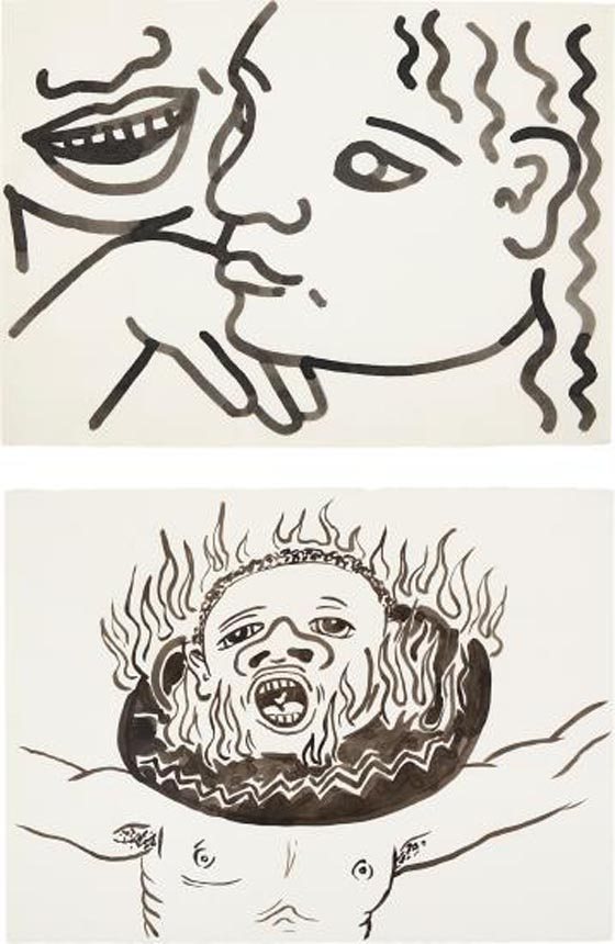 KEITH HARING, Two works: (i) Untitled (Zena at 17 Years), 1985; (i…, 1986