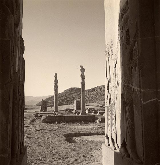 View of ruins at the palace of Persepolis, Persia, 1949