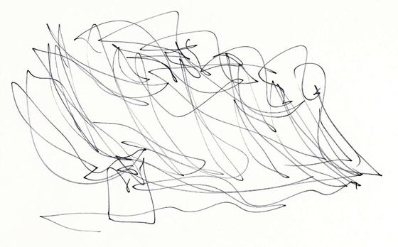 One of Gehry's original sketches for the building
