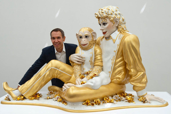 The artist with Michael Jackson and Bubbles at The Whitney in June