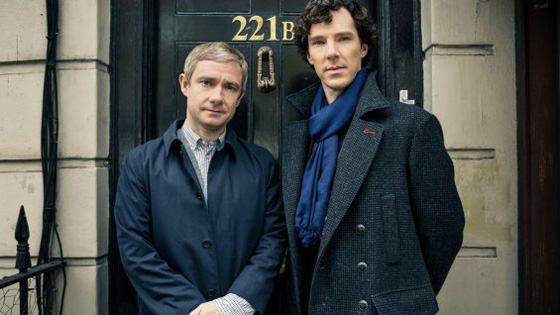 Martin Freeman & Benedict Cumberbatch in front of 221B Baker Street, Sherlock's address in the series and the home of the Sherlock Holmes Museum in London in reality